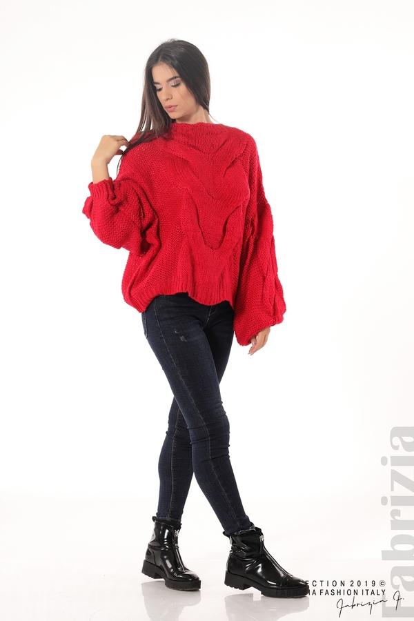 Дамски плетен пуловер червен 3 fabrizia