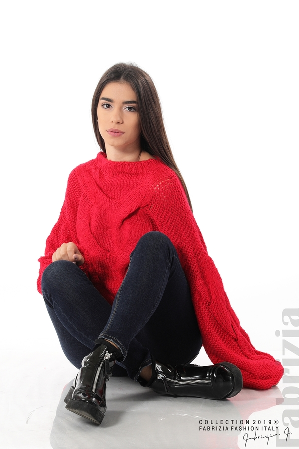 Дамски плетен пуловер червен 1 fabrizia