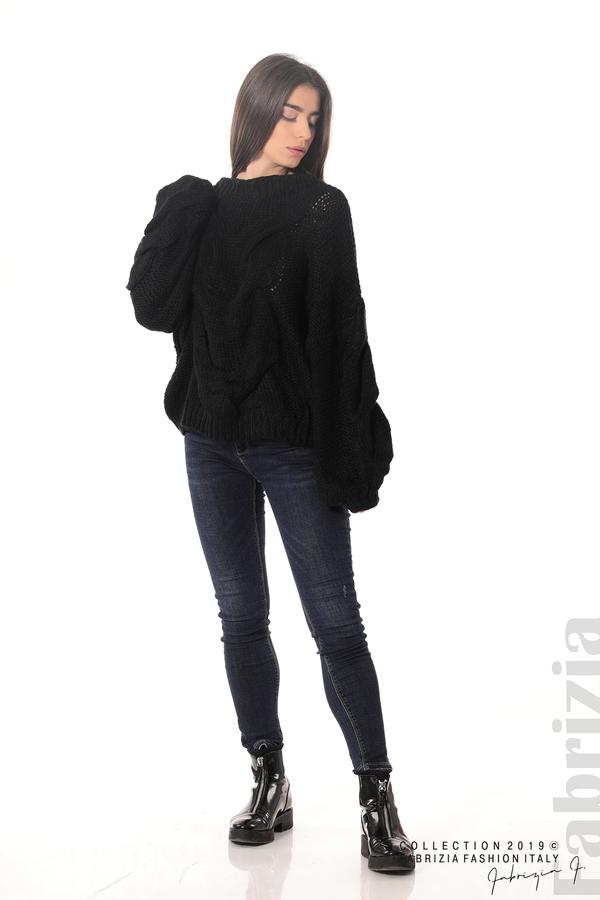 Дамски плетен пуловер черен 2 fabrizia