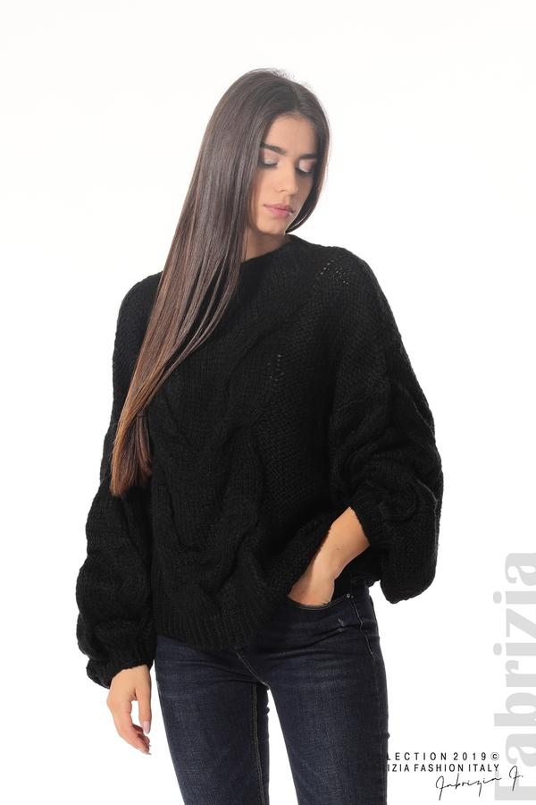 Дамски плетен пуловер черен 1 fabrizia