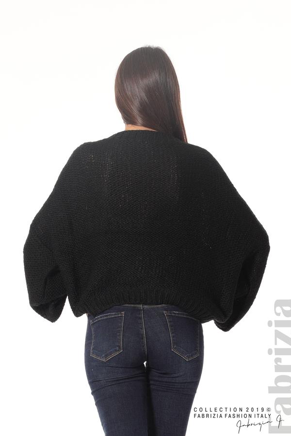 Дамски плетен пуловер черен 4 fabrizia