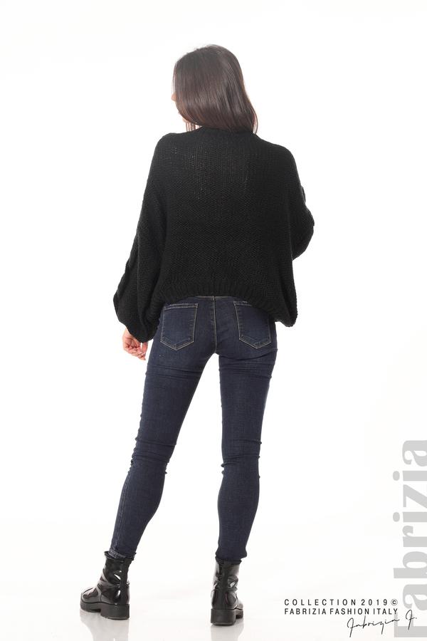 Дамски плетен пуловер черен 3 fabrizia