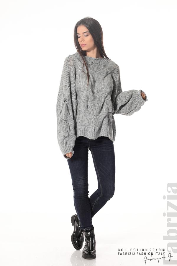 Дамски плетен пуловер сив 2 fabrizia