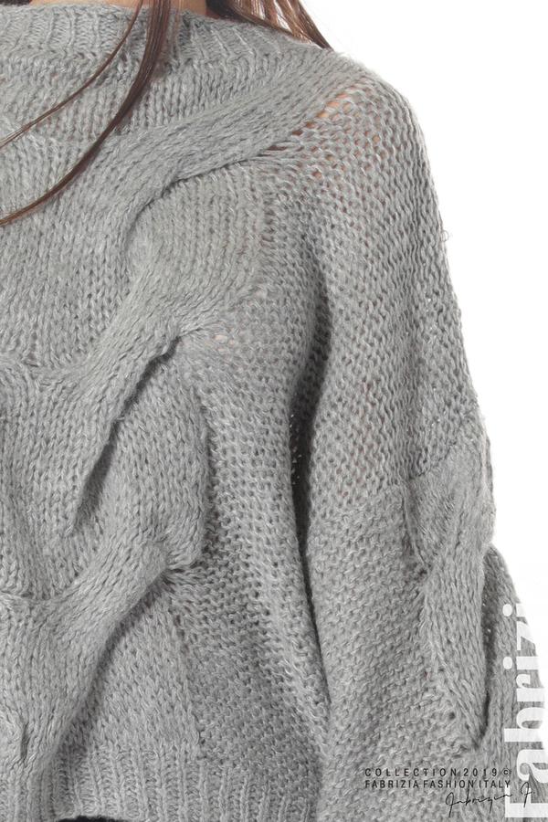 Дамски плетен пуловер сив 4 fabrizia