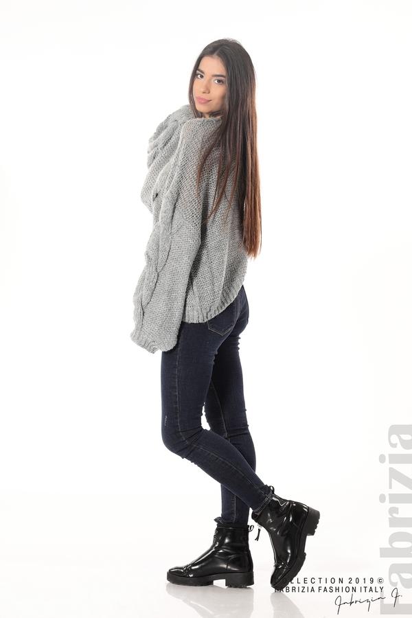 Дамски плетен пуловер сив 3 fabrizia