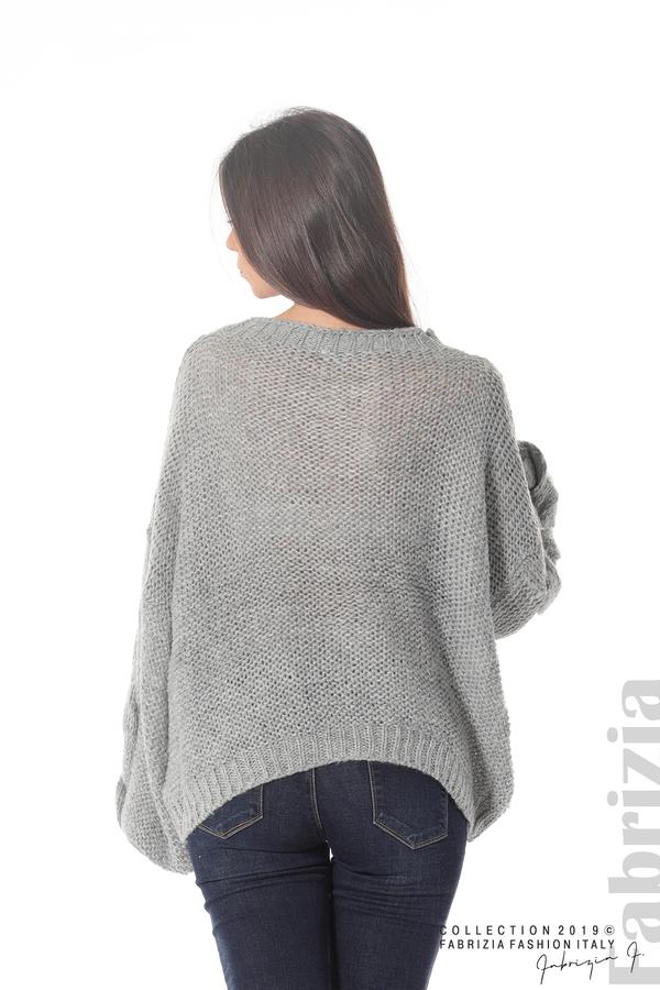 Дамски плетен пуловер сив 6 fabrizia
