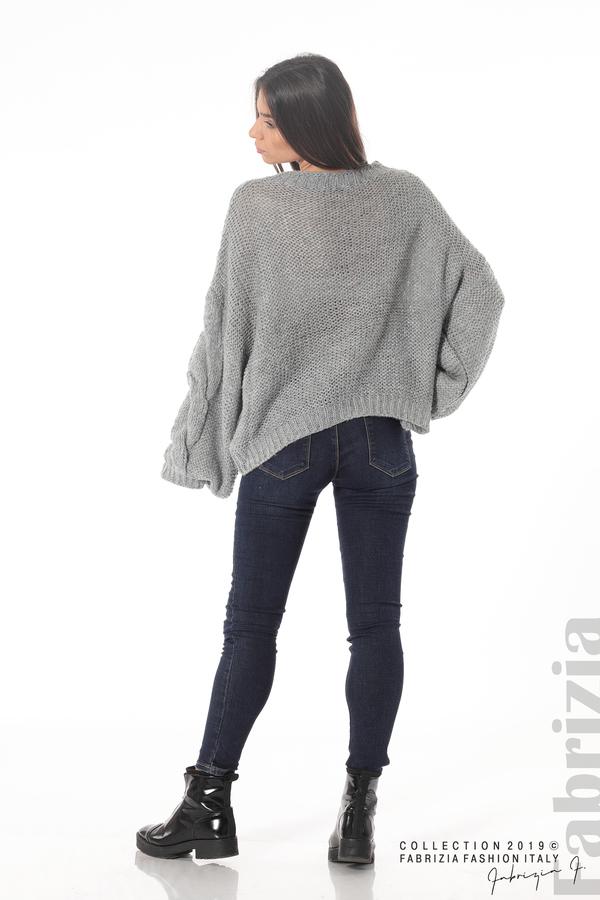 Дамски плетен пуловер сив 5 fabrizia