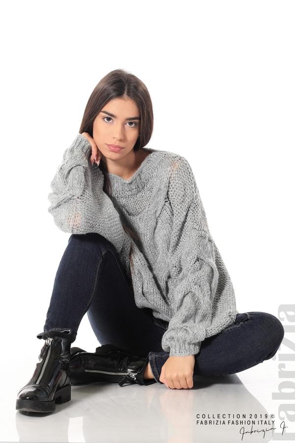 Дамски плетен пуловер сив 1 fabrizia