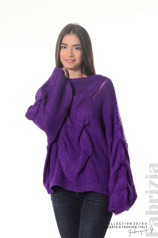 Дамски плетен пуловер  лилав 3 fabrizia