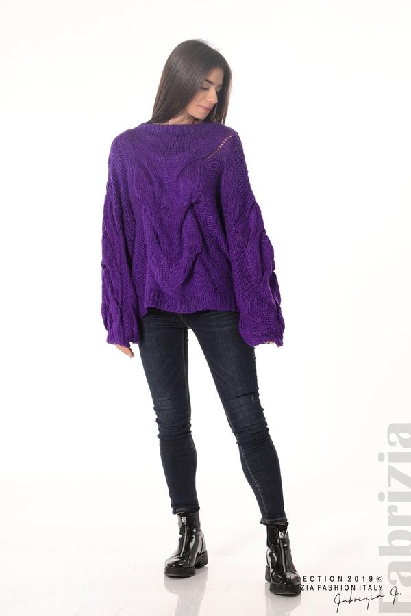 Дамски плетен пуловер  лилав 2 fabrizia