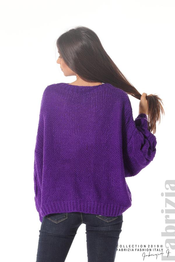 Дамски плетен пуловер  лилав 6 fabrizia