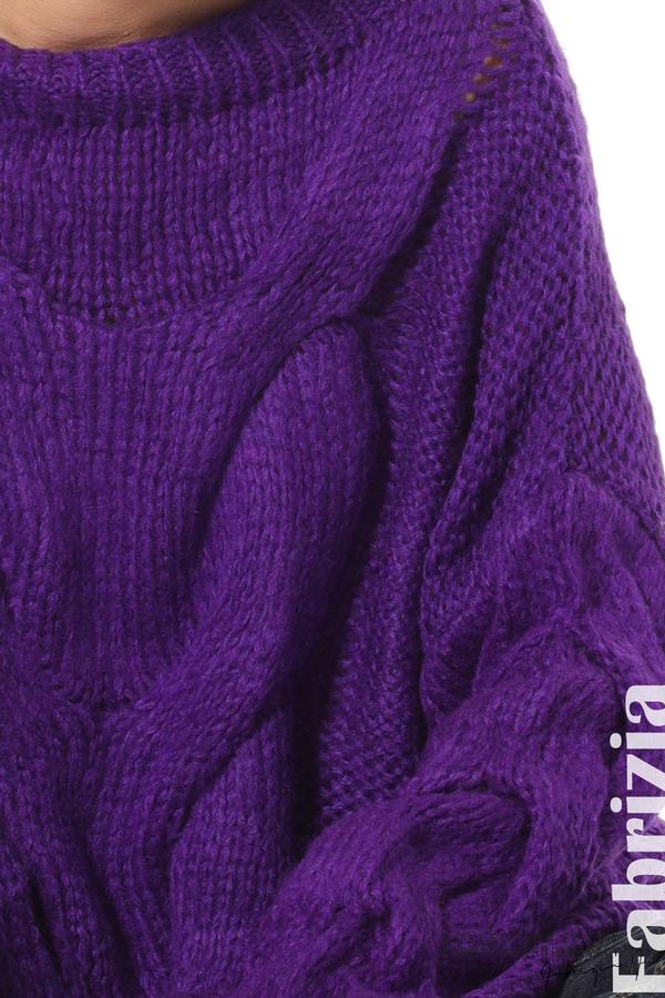 Дамски плетен пуловер  лилав4 fabrizia