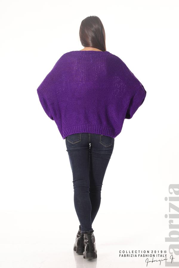 Дамски плетен пуловер  лилав 5 fabrizia