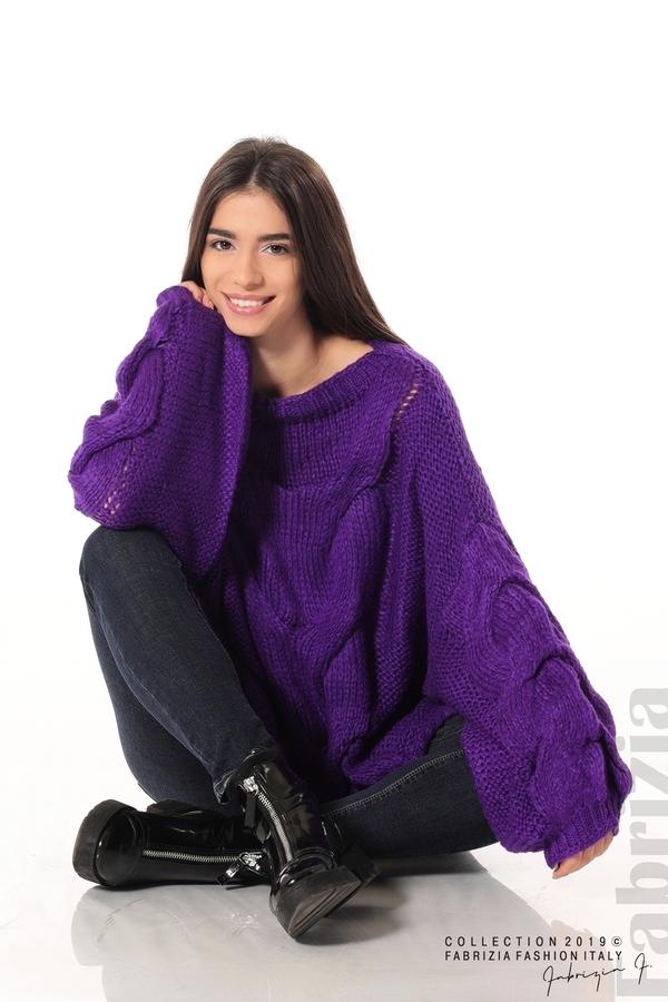 Дамски плетен пуловер  лилав 1 fabrizia