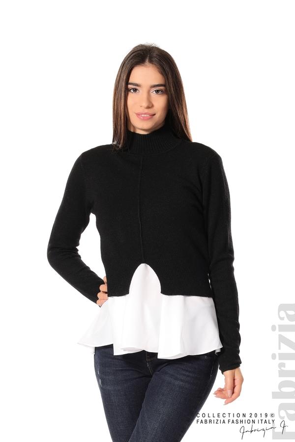 Ефектен комплект топ и блуза черен 1 fabrizia