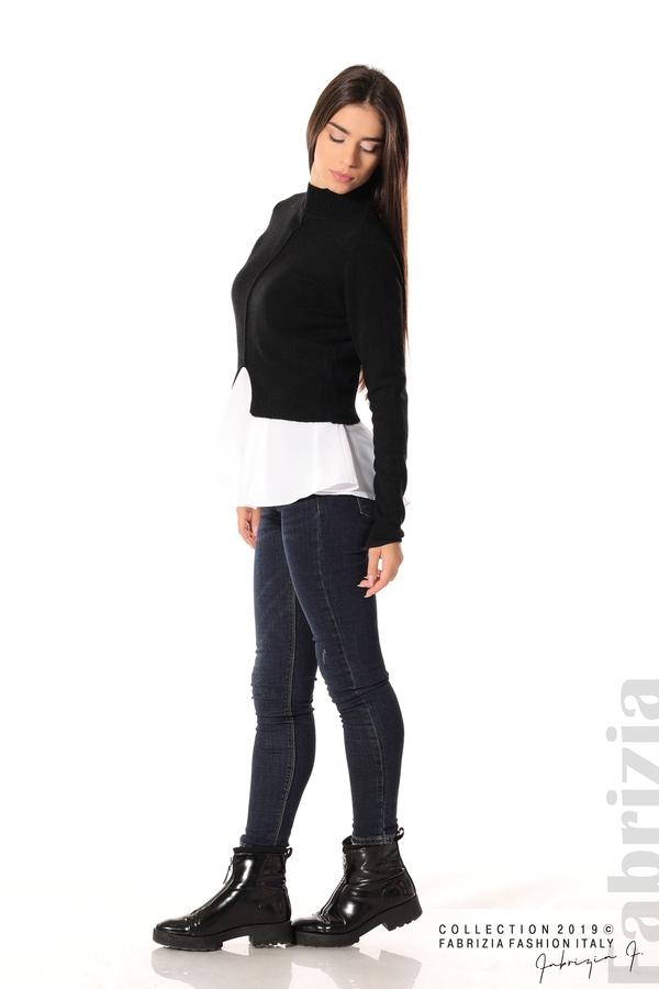 Ефектен комплект топ и блуза черен 2 fabrizia