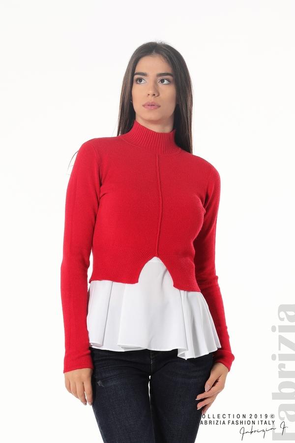 Ефектен комплект топ и блуза червен 1 fabrizia