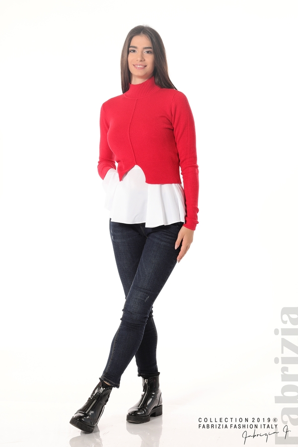 Ефектен комплект топ и блуза червен 3 fabrizia