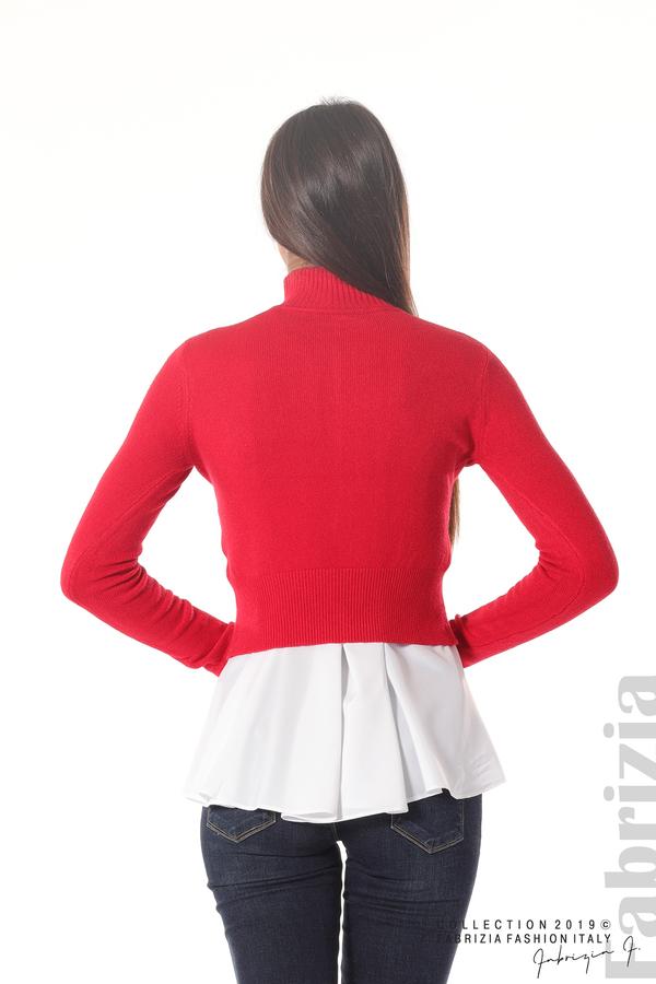 Ефектен комплект топ и блуза червен 4 fabrizia