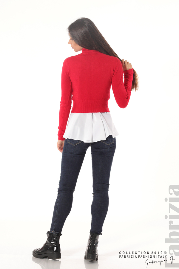 Ефектен комплект топ и блуза червен 5 fabrizia