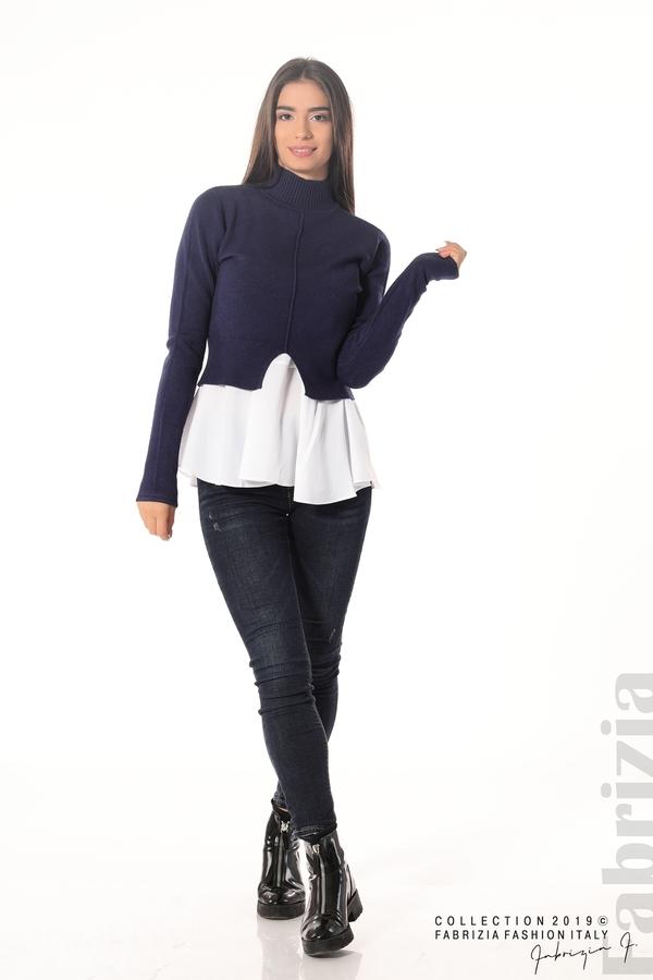 Ефектен комплект топ и блуза т.син 2 fabrizia