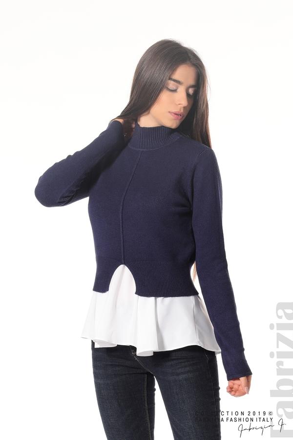 Ефектен комплект топ и блуза т.син 1 fabrizia