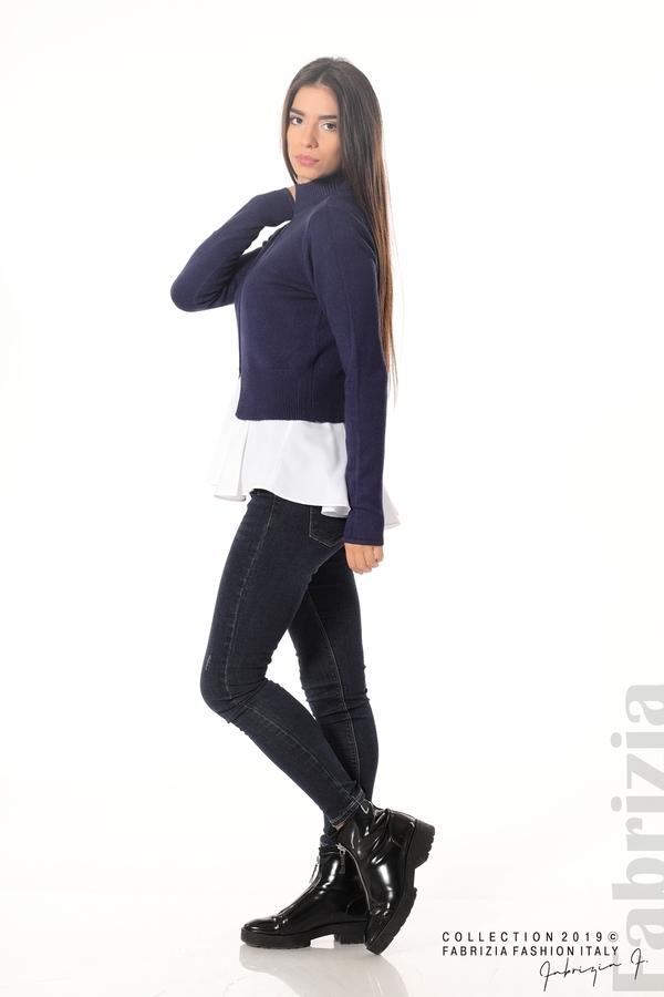 Ефектен комплект топ и блуза т.син 3 fabrizia