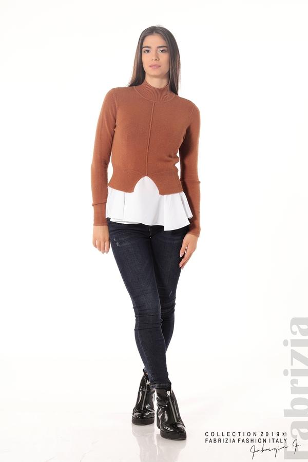 Ефектен комплект топ и блуза кафяв 2 fabrizia