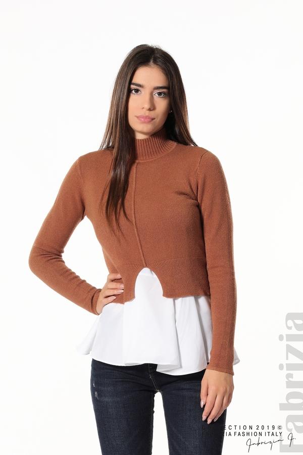 Ефектен комплект топ и блуза кафяв 1 fabrizia