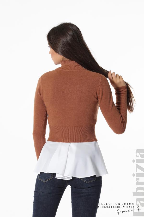 Ефектен комплект топ и блуза кафяв 4 fabrizia