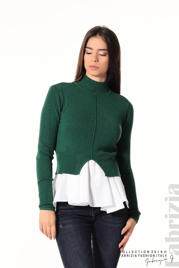 Ефектен комплект топ и блуза т.зелен 1 fabrizia