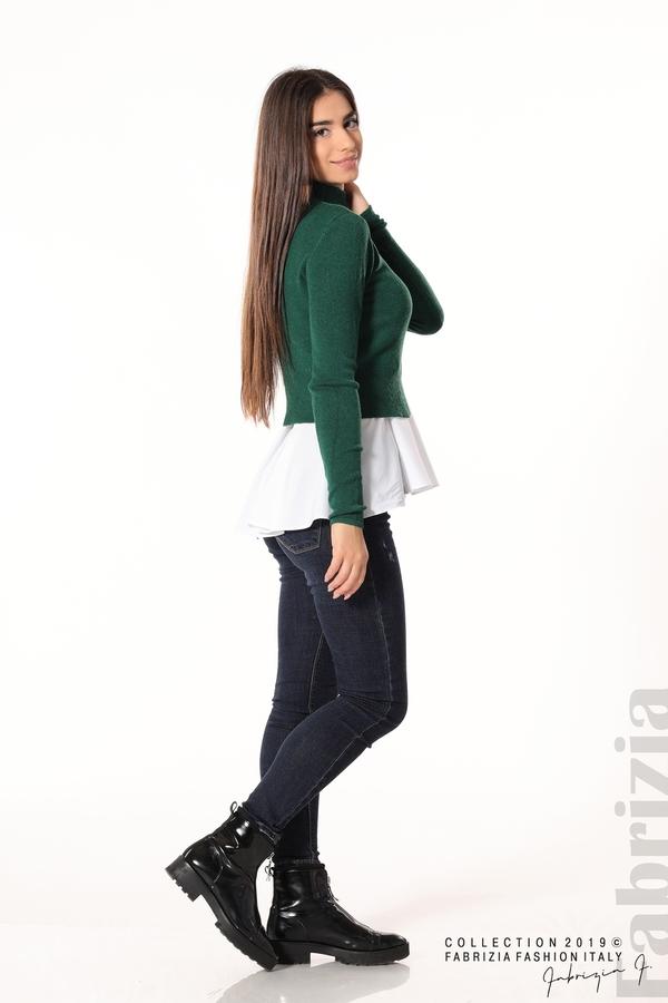 Ефектен комплект топ и блуза т.зелен 2 fabrizia