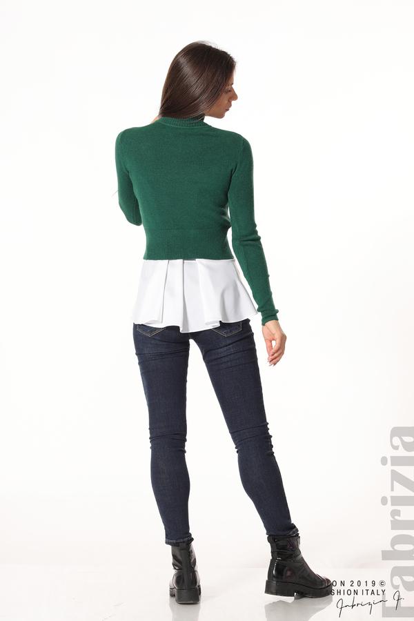 Ефектен комплект топ и блуза т.зелен 3 fabrizia