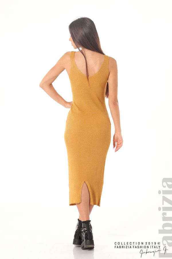 Комплект рокля и блуза с ламе горчица 3 fabrizia