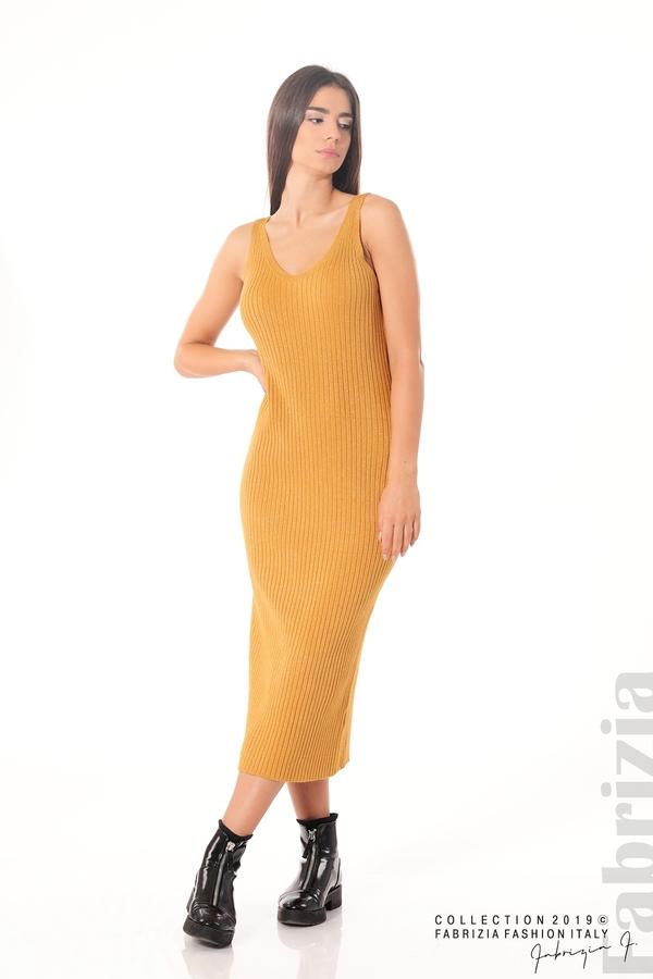 Комплект рокля и блуза с ламе горчица 1 fabrizia