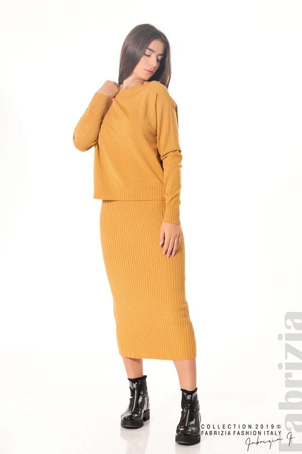 Комплект рокля и блуза с ламе горчица 4 fabrizia