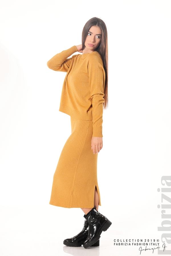 Комплект рокля и блуза с ламе горчица 5 fabrizia