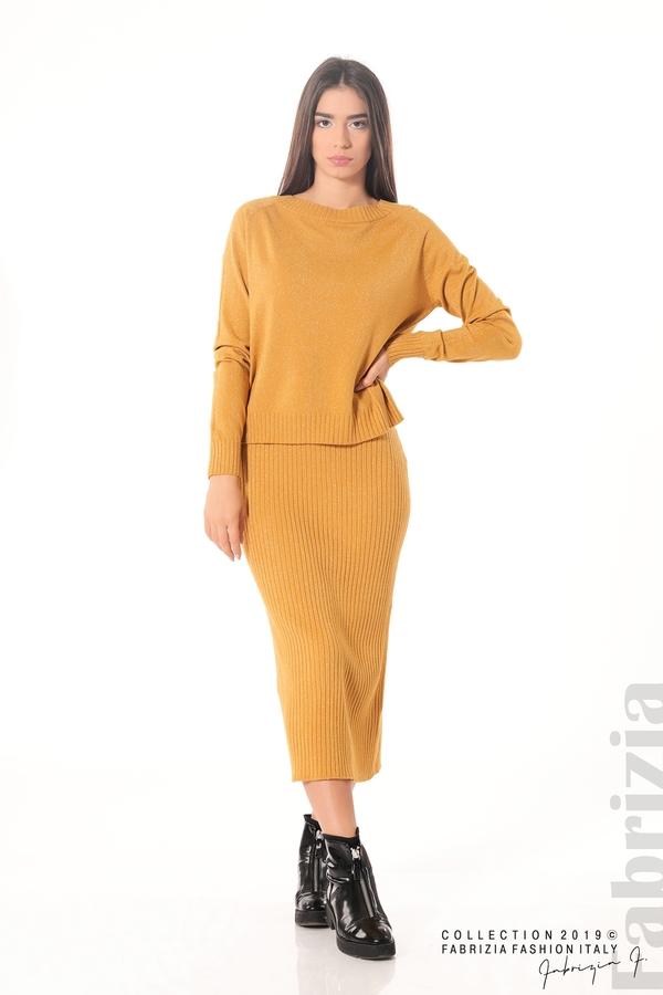Комплект рокля и блуза с ламе горчица 2 fabrizia