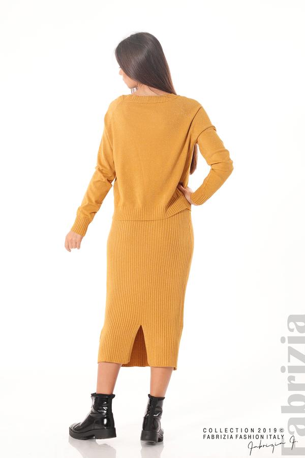 Комплект рокля и блуза с ламе горчица 6 fabrizia