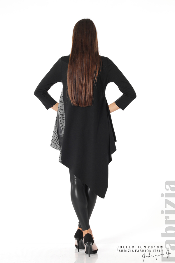 Асиметрична дамска туника черен/сив 4 fabrizia