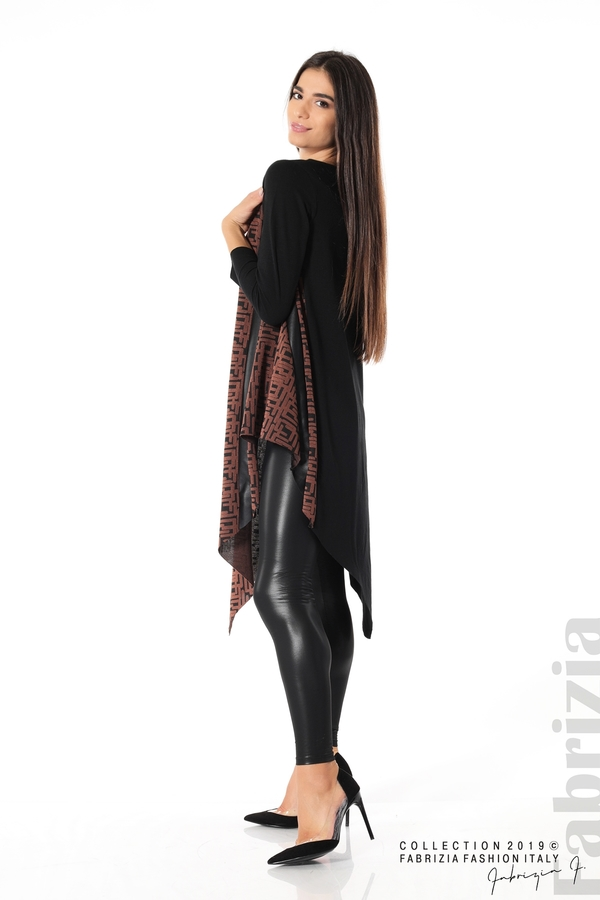 Асиметрична дамска туника черен/кафяв 2 fabrizia