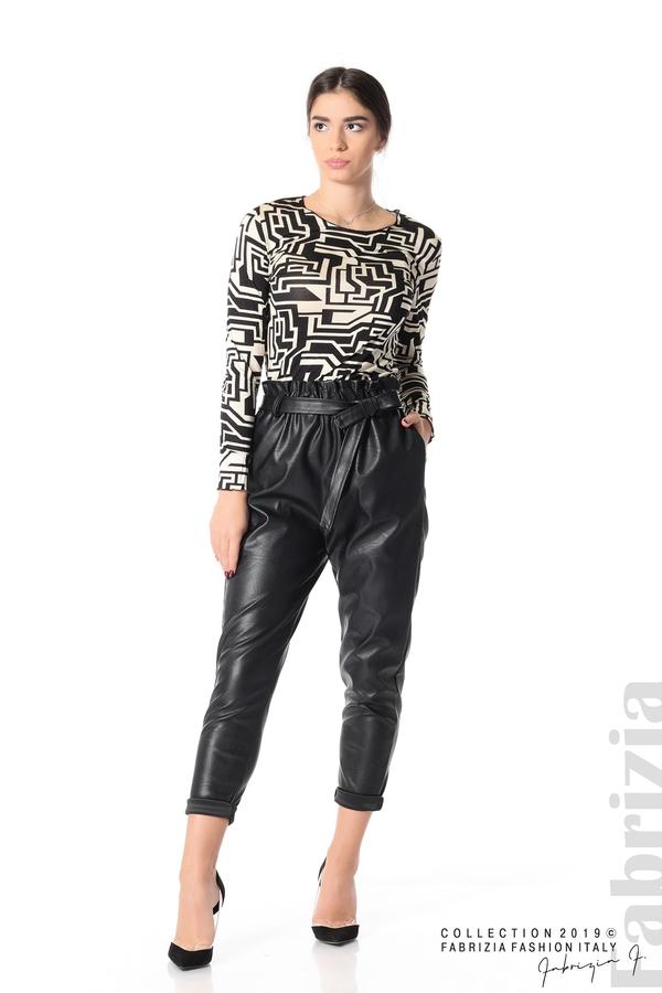 Дамски кожен панталон с висока талия черен 2 fabrizia