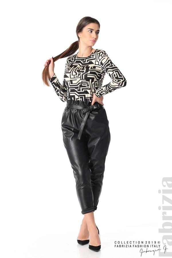 Дамски кожен панталон с висока талия черен 4 fabrizia