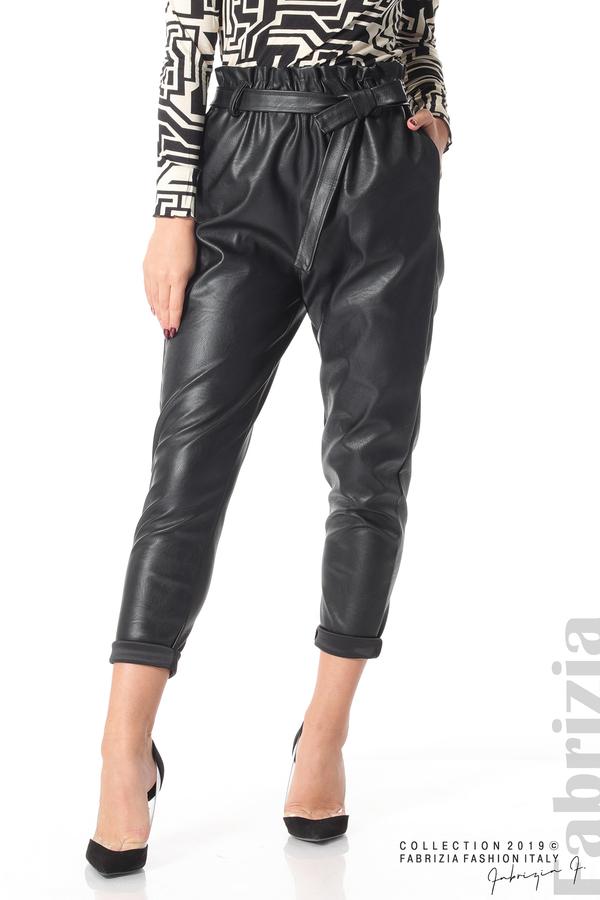 Дамски кожен панталон с висока талия черен 3 fabrizia