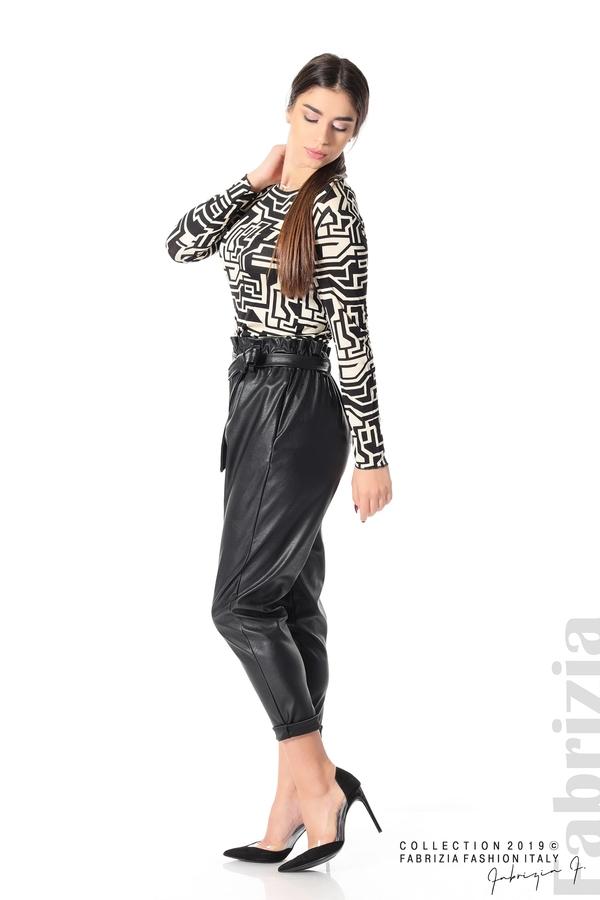 Дамски кожен панталон с висока талия черен 1 fabrizia