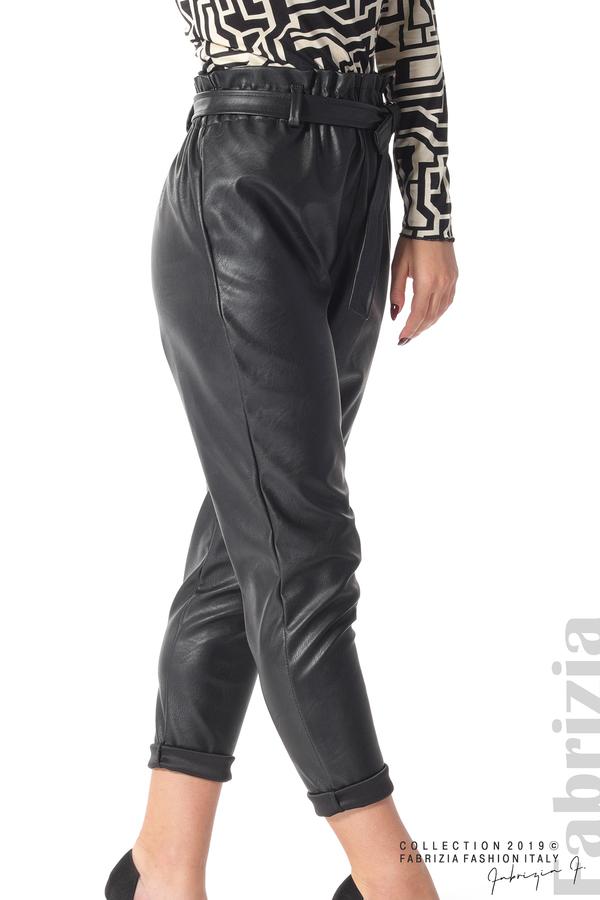 Дамски кожен панталон с висока талия черен 5 fabrizia