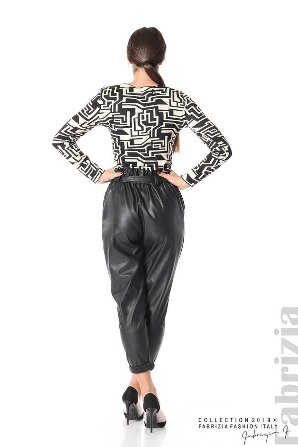 Дамски кожен панталон с висока талия черен 6  fabrizia