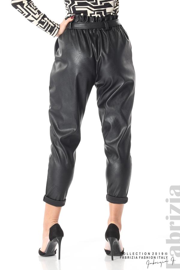 Дамски кожен панталон с висока талия черен 7 fabrizia