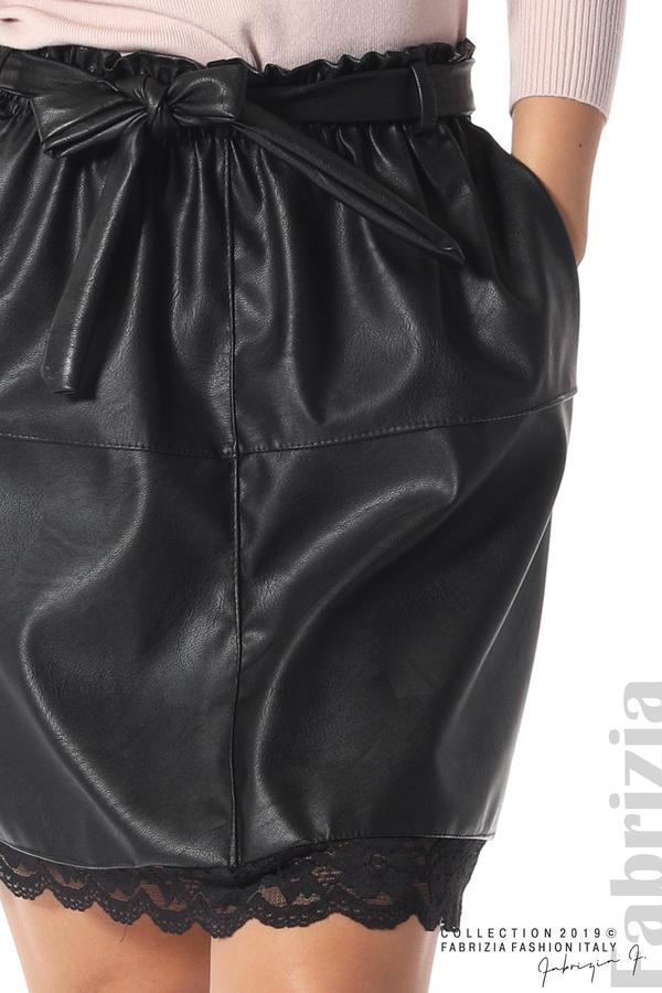 Кожена пола с дантела черен 3 fabrizia