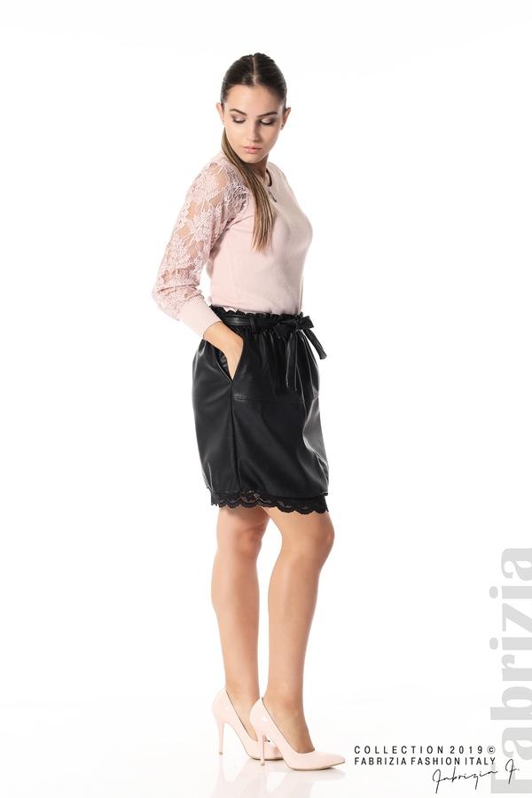 Кожена пола с дантела черен 4 fabrizia